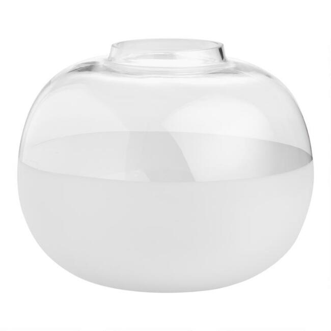 Large Round Clear And Frosted Glass Vase