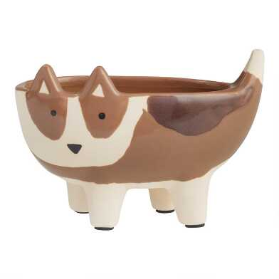 Brown Dog Ceramic Planter