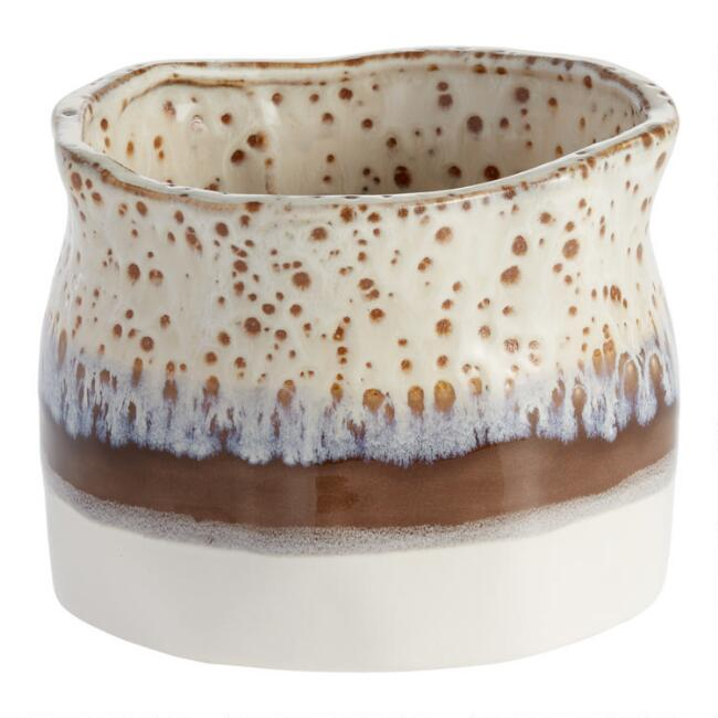Ivory And Brown Organic Reactive Glaze Ceramic Planter