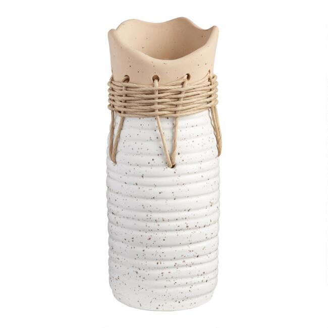 Tall Two Tone Woven Twine Organic Ceramic Vase