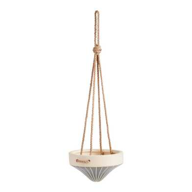 Slate And Ivory Conical Ceramic Hanging Planter