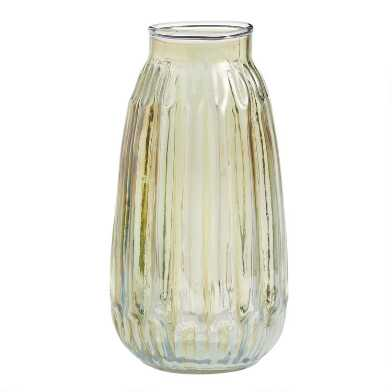 Tall Green Luster Ribbed Glass Bud Vase Set of 6