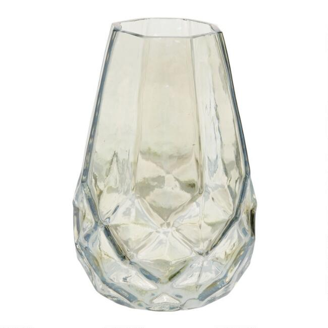 Green Luster Faceted Glass Bud Vase