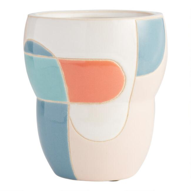 Blue, Pink And Coral Geometric Ceramic Planter