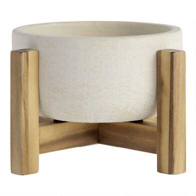 Wide White Ceramic Planter With Wood Stand