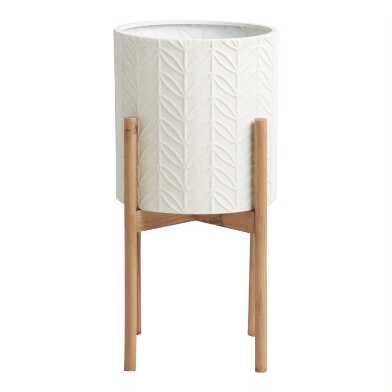 Medium White Leaf Planter With Pinewood Stand