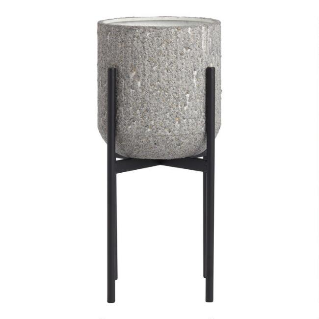 Medium Gray Faux Pebbled Planter With Stand