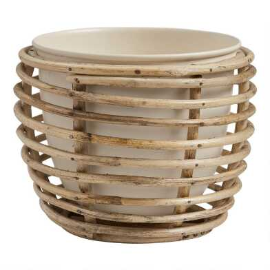 Ivory Metal Planter with Rattan Cane Stand