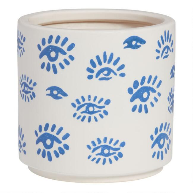 White And Blue Aegean Eye Planter