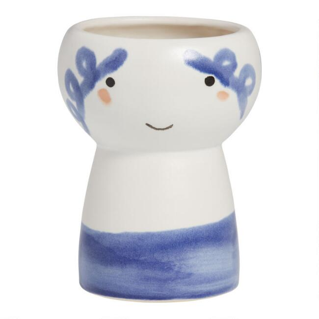 White And Blue Aegean Goddess Planter