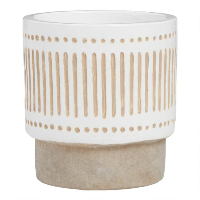 White and Gray Dot And Stripe Ceramic Planter