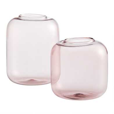 Pink Glass Cylinder Bud Vases Set Of 4