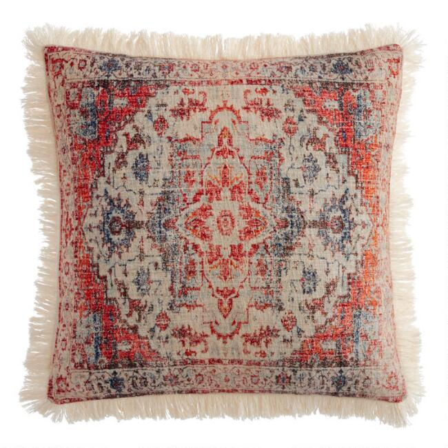 Red and Blue Vintage Rug Print Throw Pillow