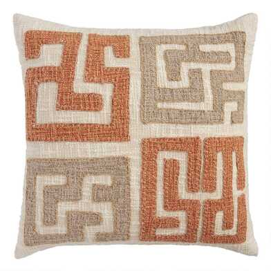 Gray and Orange Kuba Applique Throw Pillow