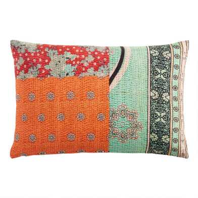 Pink and Gray Kantha Print Lumbar Pillow