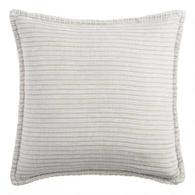 Woven Cotton Ticking Stripe Reversible Throw Pillow