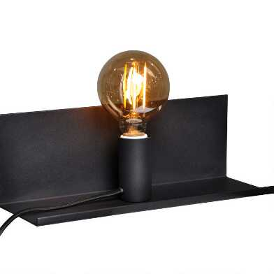 Black Metal Olson Wall Sconce with Shelf