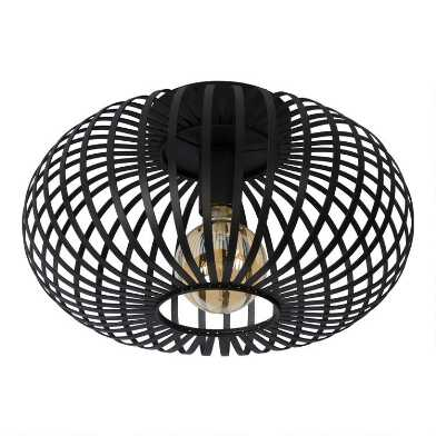 Black Metal Cage Flush Mount Jorna Ceiling Light