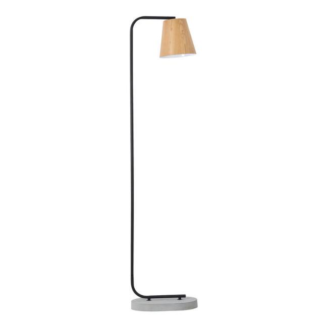 Concrete and Black Metal Reza Floor Lamp