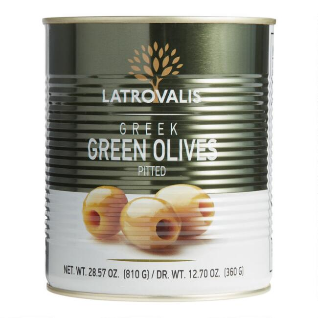 Latrovalis Greek Pitted Green Olive Tin