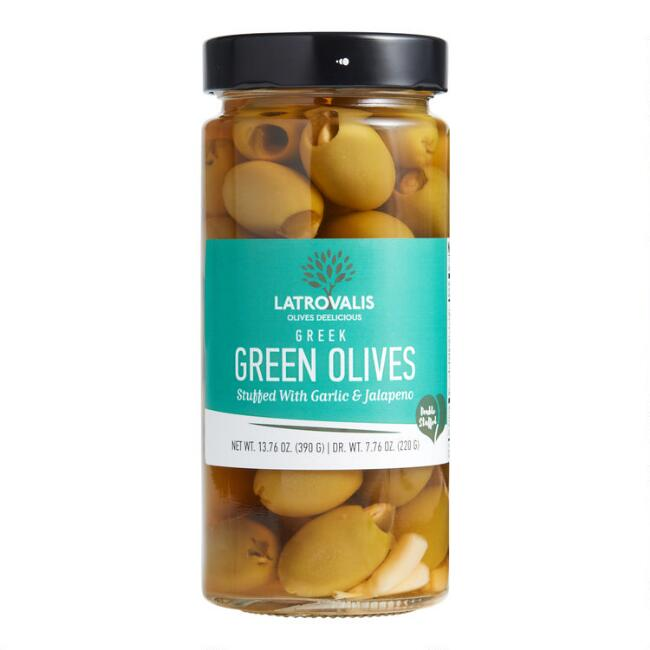 Latrovalis Greek Green Olives with Garlic and Jalapeno