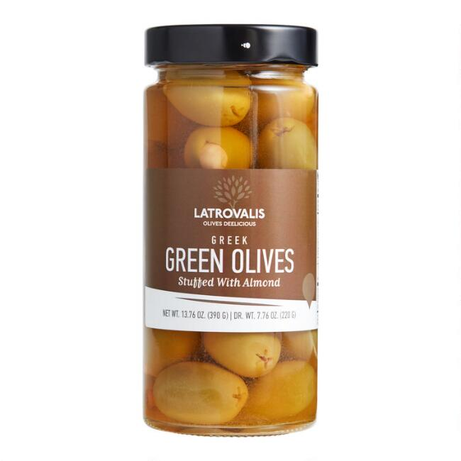 Latrovalis Greek Green Olives with Almonds