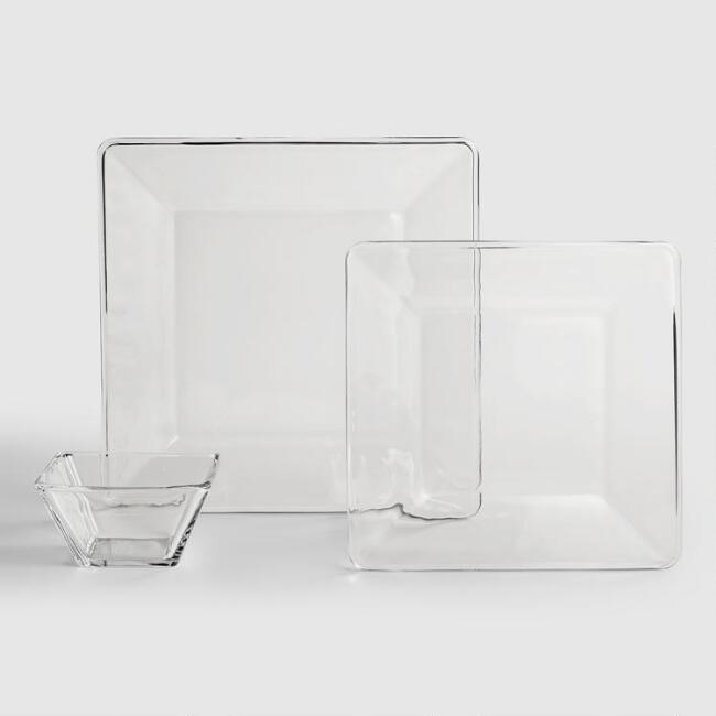 Tempo Square Glass Dinnerware