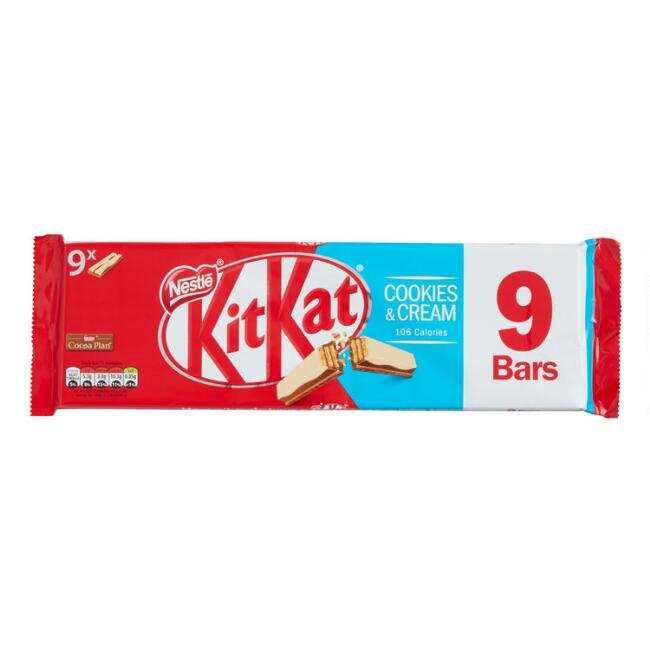 Nestle Kit Kat Cookies & Cream Chocolate Wafer Bars 9 Piece