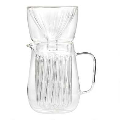 Blown Glass Pour Over Coffee Carafe and Filter Set