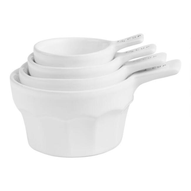White Ceramic Nesting Measuring Cup Set