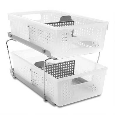 Madesmart® 2 Tier Storage Bin Organizer with Dividers