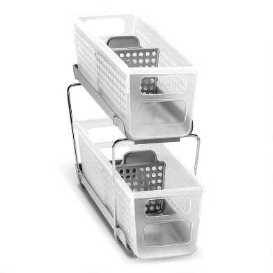 Mini Madesmart® 2 Tier Storage Bin Organizer with Dividers