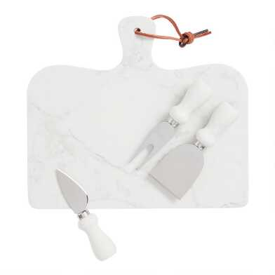Marble Serving Board and Cheese Knife 4 Piece Set