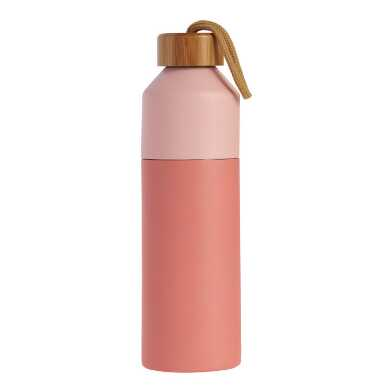 Two Tone Coral Infuser Water Bottle with Bamboo Lid