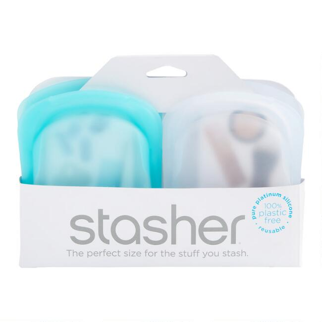 Stasher Reusable Silicone Pocket Size Storage Bags 2 Pack