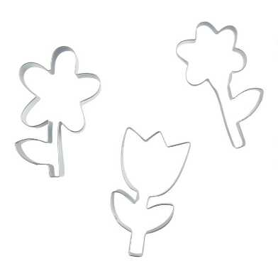 Meri Meri Stainless Steel Flower Cookie Cutters 3 Pack
