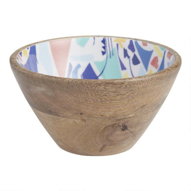 Small Multicolor Melody Enamel Wood Bowl Set of 2