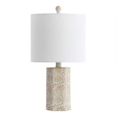Ivory And Beige Abstract Floral Josie Table Lamp
