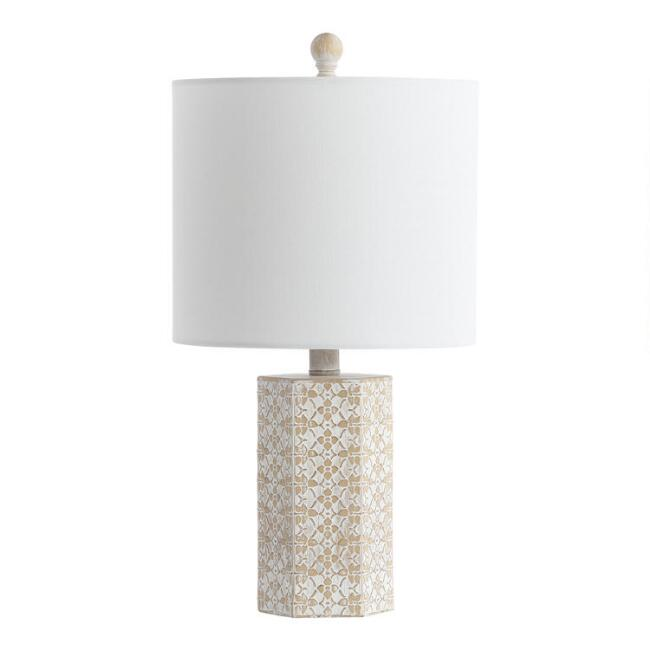 Ivory And Beige Lace Floral Nanette Table Lamp