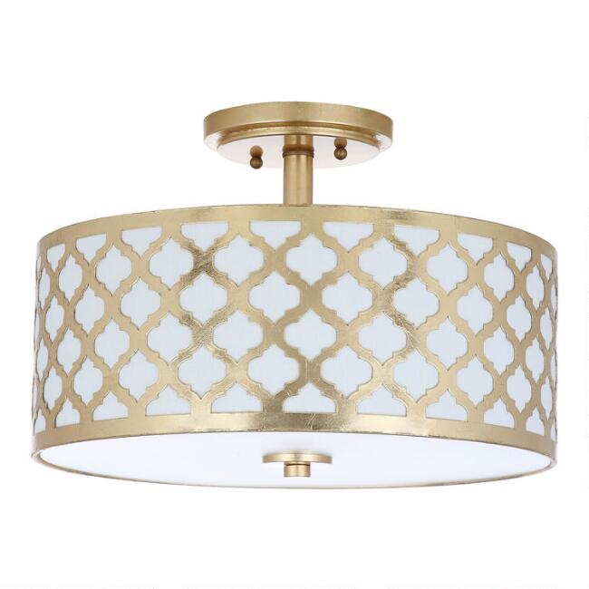 Gold Quatrefoil 3 Light Flush Mount Doreen Ceiling Light