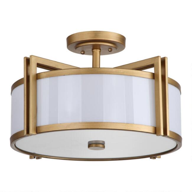 Gold Trim 3 Light Flush Mount Davis Ceiling Light
