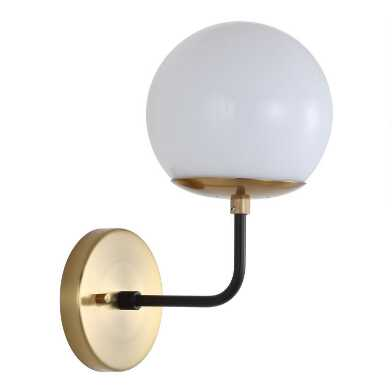 Warm Gold And White Glass Globe Linden Wall Sconce
