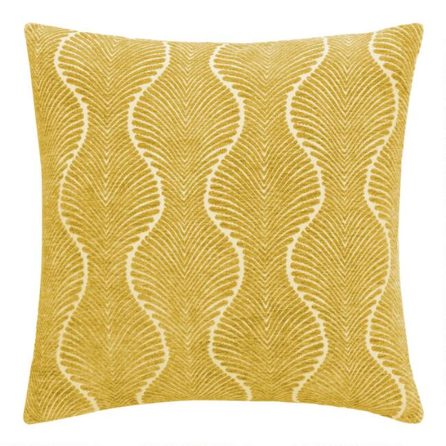 Golden Yellow Ogee Jacquard Throw Pillow