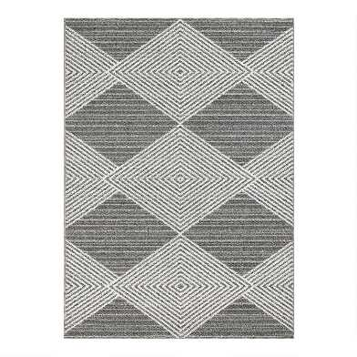 Gray and Ivory Diamond Indoor Outdoor Rug