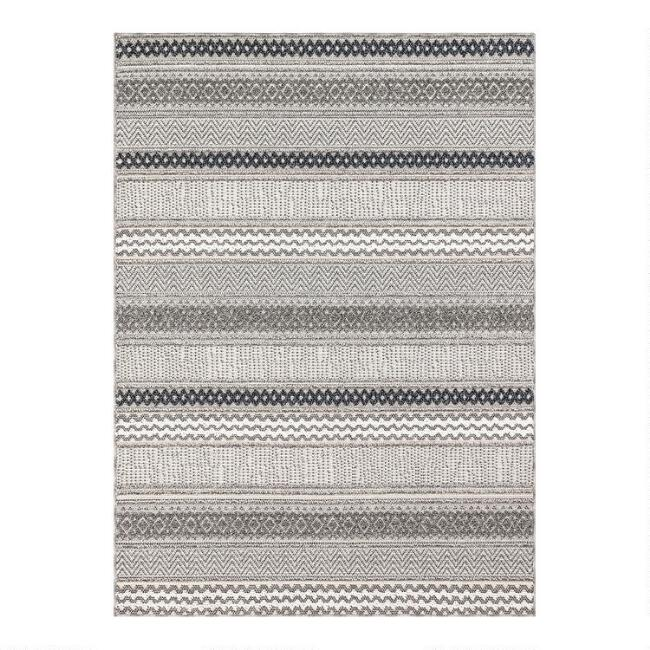 Tonal Gray Stripe Indoor Outdoor Rug