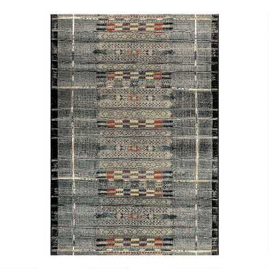 Gray and Multicolor Global Stripe Indoor Outdoor Rug