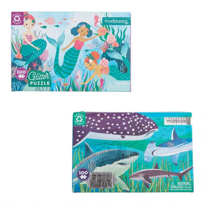Mudpuppy Mermaids and Sharks 100 Piece Puzzles Set of 2