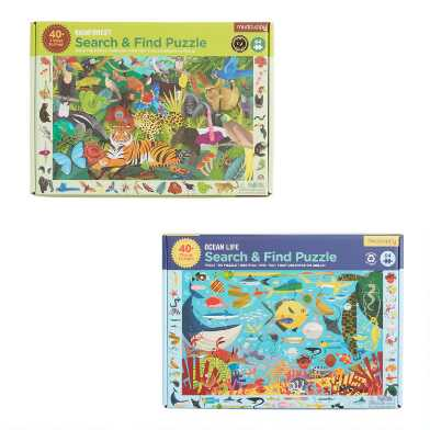 Mudpuppy Ocean and Rainforest Search & Find Puzzles Set of 2