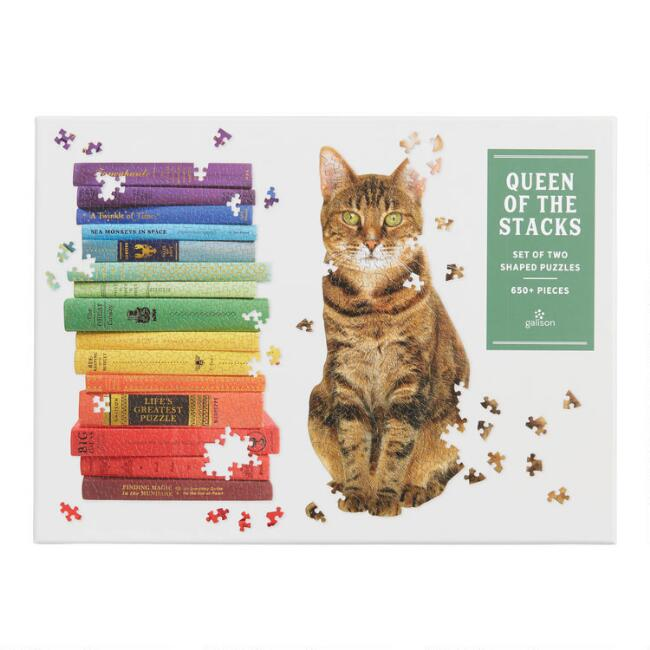 Galison Queen of the Stacks 650 Piece Two Puzzle Set