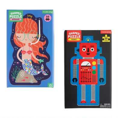 Mudpuppy Mermaid and Robot Shaped 50 Piece Puzzles Set of 2